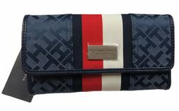 Tommy Hilfiger Navy Blue Jacquard Logo Flag Trifold Checkboo