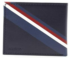 New Tommy Hilfiger Men's Navy Leather Passcase Double Billfo