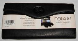 New Black Leather Clutch Credit Card Wallet With Attached Co