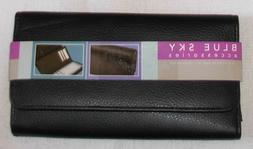 New Black Trifold Clutch Credit Card Wallet With Expandable