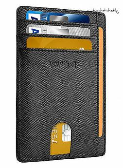 New Buffway Slim Minimalist RFID Blocking Leather Wallets fo