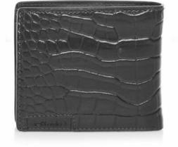 New Calvin Klein Ck Men's Leather Wallet Id Billfold With Co