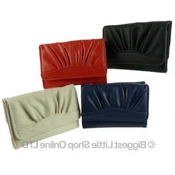NEW Faux Leather PU Girls Teens Compact Trifold Purse/Wallet