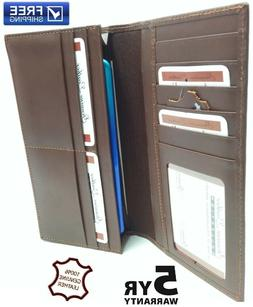 New Genuine Leather Purse ID Card Holder,Checkbook Long Wall