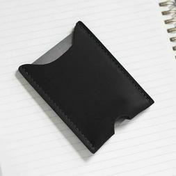 NEW Hand Crafted Black Leather Card Case - Made in USA - Min