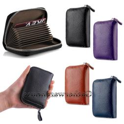 New Leather Accordion Wallet Zip Around ID Credit Card Case