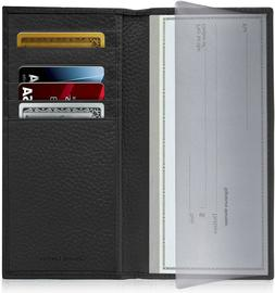 New Leather Checkbook Cover Card Holder Wallet W/ ID Window