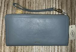 NEW Fossil Logan RFID Leather Zip Around Wallet