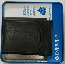 New Columbia Men's Coated Leather Front Pocket Wallet Black