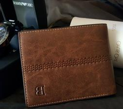 New Men's Leather Bifold ID Card Holder Purse Wallet Billfol