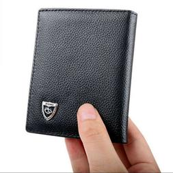 New Men's Leather Bifold ID Credit Card Holder Mini Wallet T