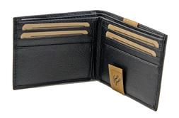 New Mens Bifold Grain Leather Wallet Black Cards Id License