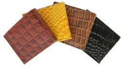 New Mens Bifold Leather Wallet Alligator Crocodile Print Zip