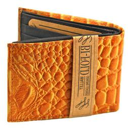 New Mens Genuine Leather Bifold Wallet ID Credit Card Alliga