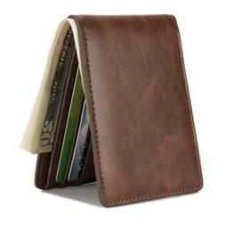 NEW HISSIMO Mens Slim Front Pocket Wallet ID Window Card Cas