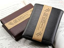 New Mens Trifold Grain Leather Wallet Billfold Credit Card W