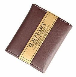 New Mens Trifold Grain Leather Wallet Case Credit Card Id Wi