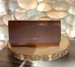 New with Tags, Fossil Logan RFID Flap Clutch Wallet in Brown