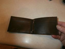 nwob new Columbia Men's Leather Front Pocket Wallet,Brown,
