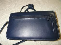 NWOT Buxton navy clutch purse/wallet with shoulder strap--ma