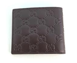 NWT Authentic Gucci Mens Brown Bi fold Guccissima Wallet wit