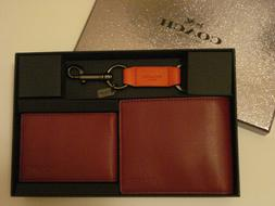 NWT - MENS LEATHER WALLET, COMPACT ID, KEY RING KEY FOB WITH