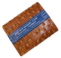 Ostrich Print Mens Trifold Leather Wallet Pocket Card Slot W