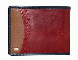 NEW TOMMY HILFIGER PASSCASE LEATHER RED MEN'S CREDIT CARD BI