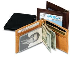 Paul & Taylor Brown Leather Money Clip-8 Credit Cards-ID Win