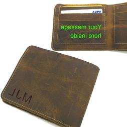 Personalized Engraved Men's Leather Bifold Wallet, Valentine