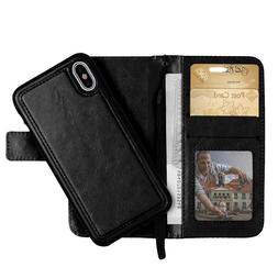 Phone X Leather Wallet Case 2 in 1 | 2-Piece Detachable Foli