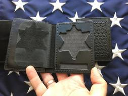 Police 6 Point Sheriff Star Badge ID Wallet Leather Tex Shoe