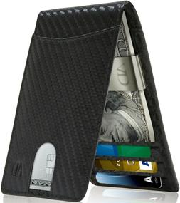 Real Leather Slim Wallets For Men With Money Clip RFID Card