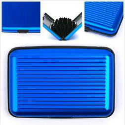 RFID Aluminum Wallet Blue Anti Theft ID Credit Card Holder B