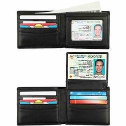 RFID Bifold Wallet for Men with 2 ID Windows Blocking Cowhid