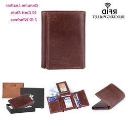 RFID Blocking Genuine Cowhide Leather Trifold Card Wallet fo