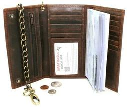 RFID Blocking Men Leather Black Checkbook Trifold Chain Wall