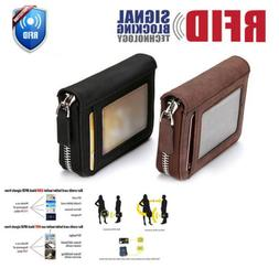 RFID Blocking Leather Wallet Credit Card Holder Zipper Pocke