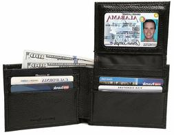 RFID Blocking Leather Wallet for Men - Removable ID Bifold -