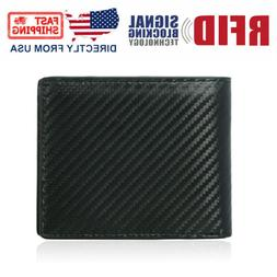 RFID Blocking Men's Carbon Fiber Leather Bifold Credit Card