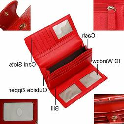 RFID Blocking Trifold Leather Checkbook Clutch Wallet for Wo