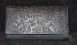 Access Denied RFID Blocking Womens Floral Embossed Leather A