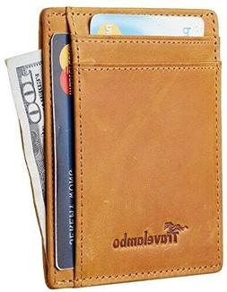 Travelambo RFID Front Pocket Minimalist Slim Wallet Genuine