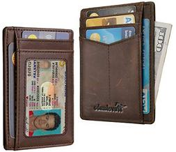 RFID Front Pocket Minimalist Slim Wallet Genuine Leather Sma