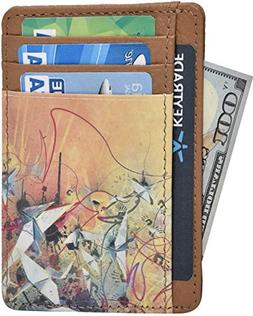RFID Leather Front Pocket Slim Wallets- Genuine Leather Hand