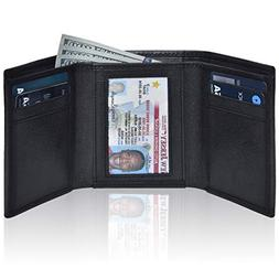 RFID Leather Trifold Wallets for Men- Handmade Slim Front Po