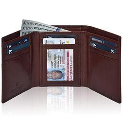 RFID Leather Trifold Wallets for Men- Slim Front Pocket Mens