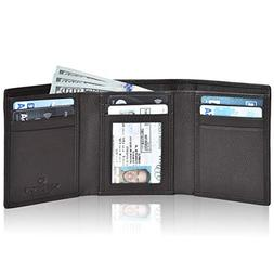 RFID leather wallet for men- Slim wallets trifold 7 Credit c