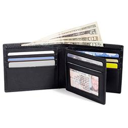 ID Stronghold RFID Mens Bifold Wallet in Genuine Leather