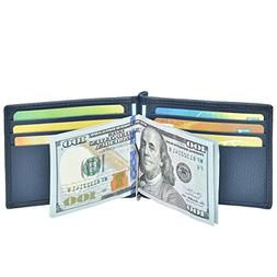 RFID Money Clip Leather wallet- Genuine Leather Bifold with